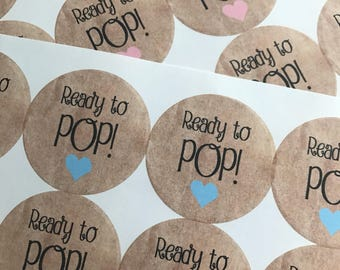 Ready To Pop Stickers, Ready to Pop, Baby Shower Stickers, Ready to Pop Baby Shower, Custom Stickers, Baby Shower, Custom Sticker, 20STICKER
