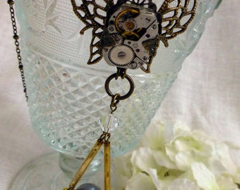 Wanderlust Steampunk Necklace - OOAK Vintage Watch Movement Reclaimed Winged Pendant - Travel Gift