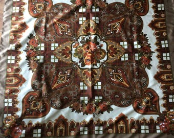 Vintage scarf, Earth color, polyester, made in Italy, brown tone