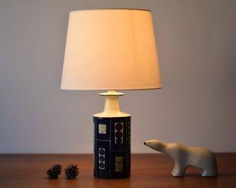 Incl New Lampshade! Aluminia / Royal Copenhagen - Table Lamp - Fog & Mørup - Inge Lise Koefoed - Danish Mid-Century Ceramic Lighting