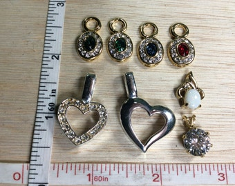 Vintage Charm Pendant Lot Hearts Rhinestone Red Green Used