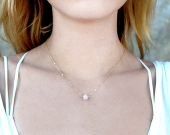 Dainty Rose Quartz Raw Gem Stone Necklace / 14k Gold Fill Rose Gold Sterling Silver Chain / Minimal Simple Short Layering / Bridesmaid Gift