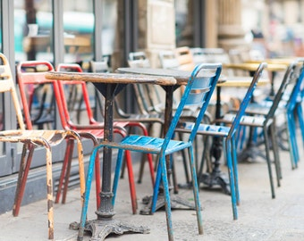 Paris Photography - Colorful Cafe Chairs, Paris Sidewalk Cafe, Rustic Decor, Large Wall Art, French Kitchen Art, Home Decor