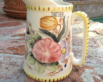 Floral Ceramic Vintage Batter Pitcher Yellow Mid Century