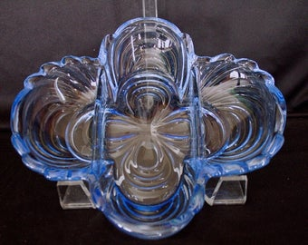 CAMBRIDGE Glass CAPRICE  Moonlight BLUE 3 Part Celery and Relish Dish
