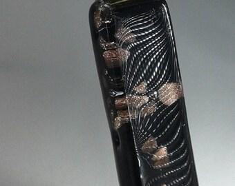Dichroic Glass pendant abstract leopard spots very unique