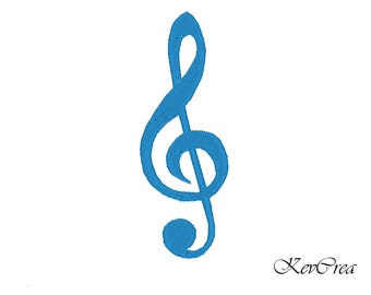 Treble clef - Music - note - Machine Embroidery Design - Instant Download -