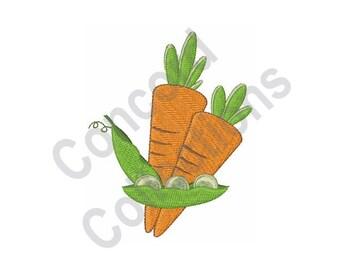 Peas & Carrots - Machine Embroidery Design
