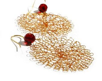 earrings, dangle earrings, circle earrings, drop earrings, gold earrings, wire crochet earrings, modern earrings, lace earrings