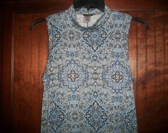 Vintage 90's Sleeveless, A-Line Dress, Mock Turtleneck Dress, Size L