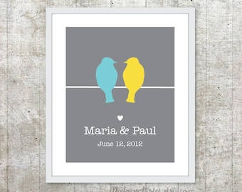 Custom Wedding Print - Love Birds Poster - Slate Grey yellow Blue - Newlyweds  Personalized poster - Engagement Gift - Keepsake Art Print