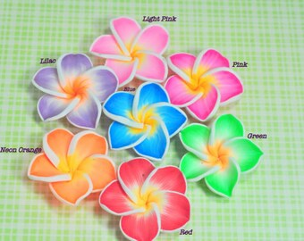Colorful MEDIUM Polymer Clay Plumeria Frangipani Flower Beads... 30pcs... Pick Your Color