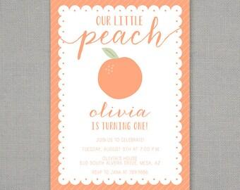 Little Peach Birthday Invitation