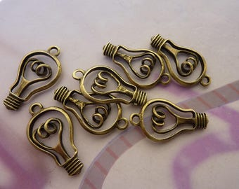 10 charms pendant bulb necklace bronze electric 30x11mm