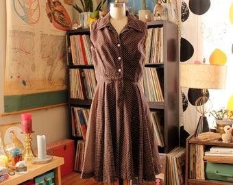 "late 1960s brown shirtwaist dress with tiny polka dots . sheer overlay dress . 29"" waist"