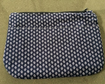 Blue/white purse / clutch /  with zip closure and pocket