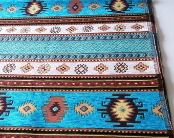 by the  Meters,Yards,Chenille,Jacquard, Ethnic,Turkish,Ottoman Chenille Upholstery Fabric,Velvet Fabric,KBRS Kilim Fabric,Turqoise