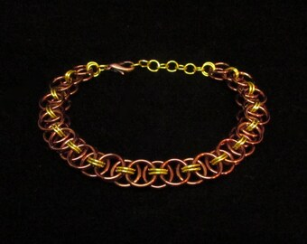 Bronze and Yellow / Yang / RWBY / Fall / Helm's Weave / Chainmail /Chain Maille / Bracelet / Gift