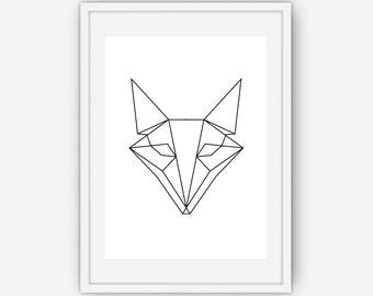 Geometric Fox Print, Fox art, Black and White Fox Print, Wall Art, Geometric art, Geometric Print, Black and White Fox, Fox Art