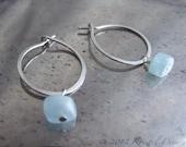 Silver Hoops Aquamarine D...