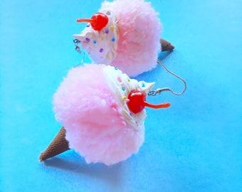 Strawberry Ice Cream Pom Pom Earrings