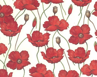 Red Poppies Floral Print Italian Paper ~ Rossi Italy  R241