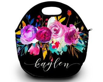 Monogram Lunch Bag   Floral   Personalized Lunch Tote   Gift For Her   Lunch Bag for Women