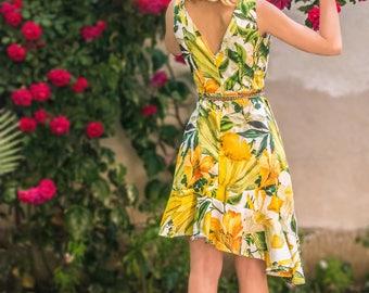 Tango dress, Fit and flare dress, Garden party dress Women ruffle dress with V-neck dress Short yellow dress ruffled Cotton floral dress