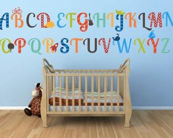 Alphabet Wall Decals - ABC Wall Decals - Alphabet Nursery Decals - Alphabet Wall Art - Boy Nursery Wall Art - Boy Room Wall Art