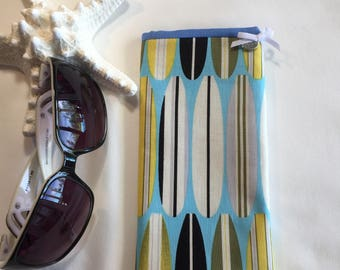 Sunglass case, eye glass case, surfboard fabric, soft padded glass case, made in Hawaii with aloha, sunglass casefor him or her, handmade.
