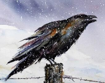 RAVEN in Snow Watercolor Print by Dean Crouser