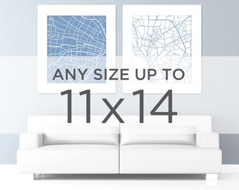 """11x14"""" City Map Wall Art: Choose any city and color in the shop"""