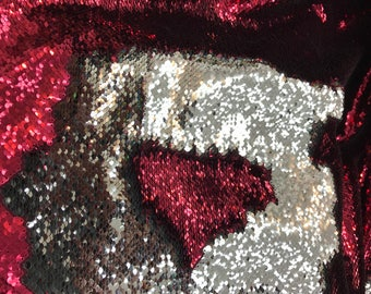 Sale!! Shiny Burgundy/Silver Two Tone Flip up Reversible Sequins Fabric 5mm Sequins -Sold by the Yard Mermaid sequins
