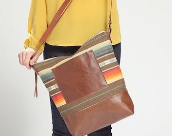 Laptop Crossbody Bag, Everyday Bag, Southwestern Bag, Modern Diaper Bag, Bag for Teen Girl, Large School Bag, Oversized Leather Crossbody