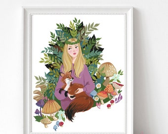The Fox and the Lady   Forest Illustration   Fox Illustration   Art Print   Illustration Print