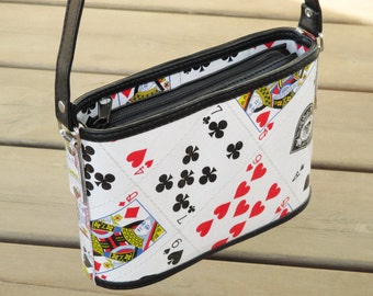 Crossbody bag playing cards, FREE SHIPPING, sustainable gift for women, vegan bag, upcycling by milo, naveh milo, green product