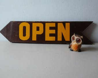 Vintage wood arrow sign Vintage open sign Brown arrow sign