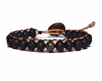 Leather Wrap Lava Bead Bracelet
