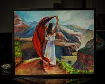 Woman in the Mountains - Oil Painting on Canvas