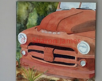"""Smile #2.  1951 Dodge Smile, Acrylic Painting by Sharon James, 12""""x12"""""""