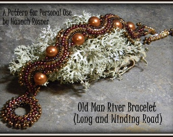 Bead Pattern - Long & Winding Road Cuff Bracelet tutorial instructions - Herringbone by Hannah Rosner for personal use only