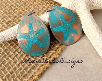 Starfish Earrings, Etched Copper Earrings,  Beach Earrings, Turquoise Earrings, Bohemian Earrings, Boho Earrings, Etched Copper Earrings