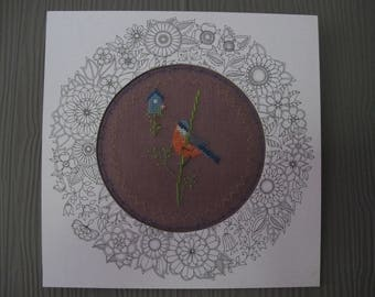 Little bird embroidered cross stitch chart