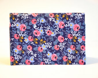 Floral blue and pink Passport Holder Passport Cover Sleeve Case  Cotton Fabric by Rifle and Company