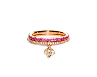 18k Rose Pave Ruby Eternity Stacking Band/Ring