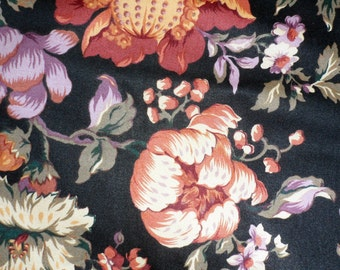 VINTAGE 1990s HOME DECOR Fabric Yardage/Designed for R.E.D. Fabrics/Beautiful Sateen with Sculptured Floral against Black Background/Yardage