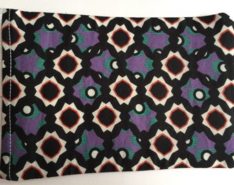 Geometric star burst purple white red and green print denim coin purse