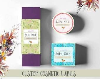 Custom cosmetics labels digital, Printable Cometic labels, Printable custom cosmetic packaging, Custom packaging design, Product packaging