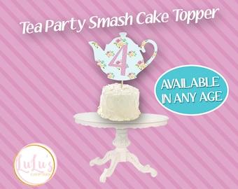 Tea Party Cake Topper - Girls Party Decor - Tea Party Birthday Party - Cake Topper - Tea Pot Cake Topper