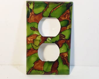 Camo Inspired, Outlet Plate, Switchplate, Camo Room, Boy Bedroom, Alcohol Ink Decor, Painted Switchplate